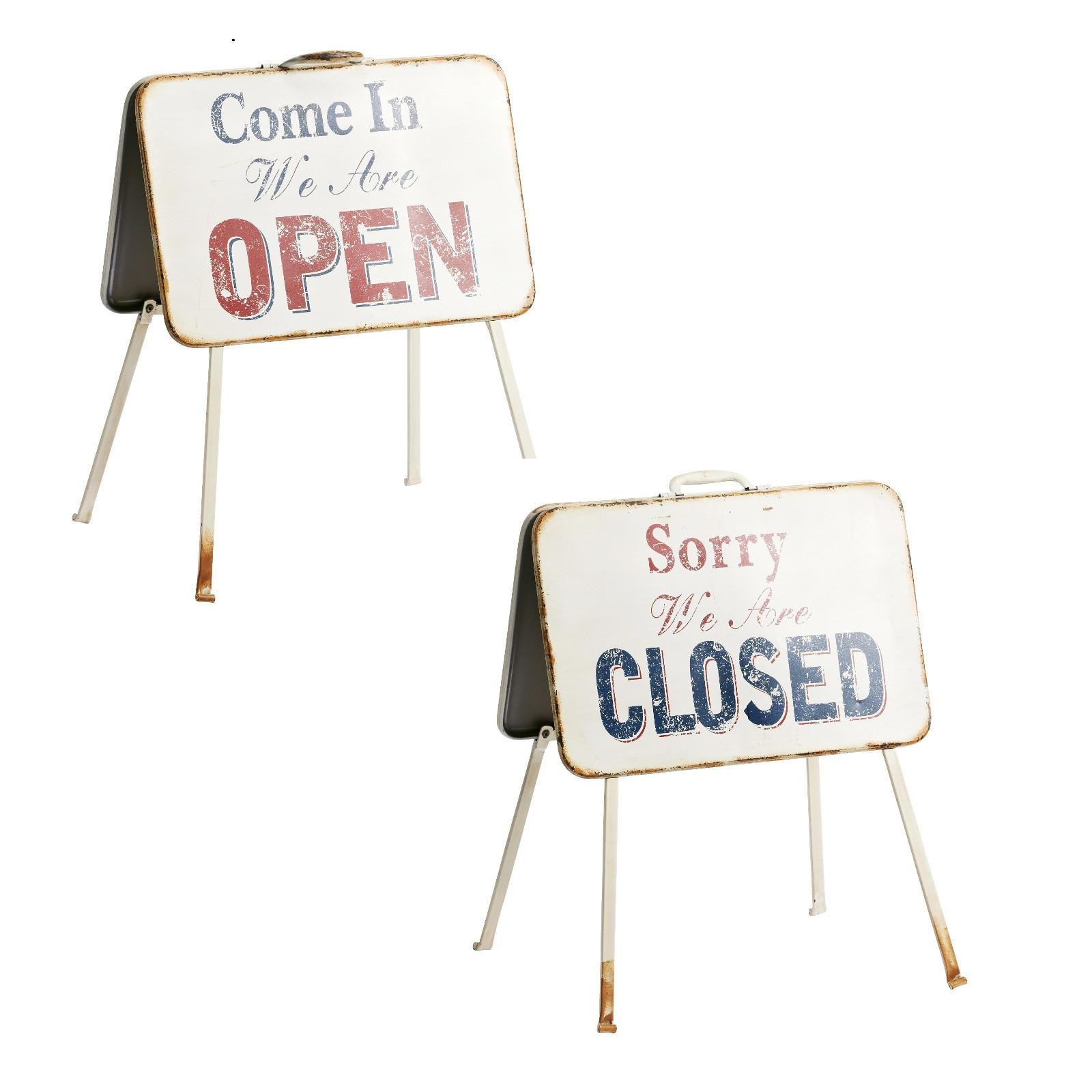 vintage metall schilder open closed tafeln aufsteller f r restaurant bar ebay. Black Bedroom Furniture Sets. Home Design Ideas