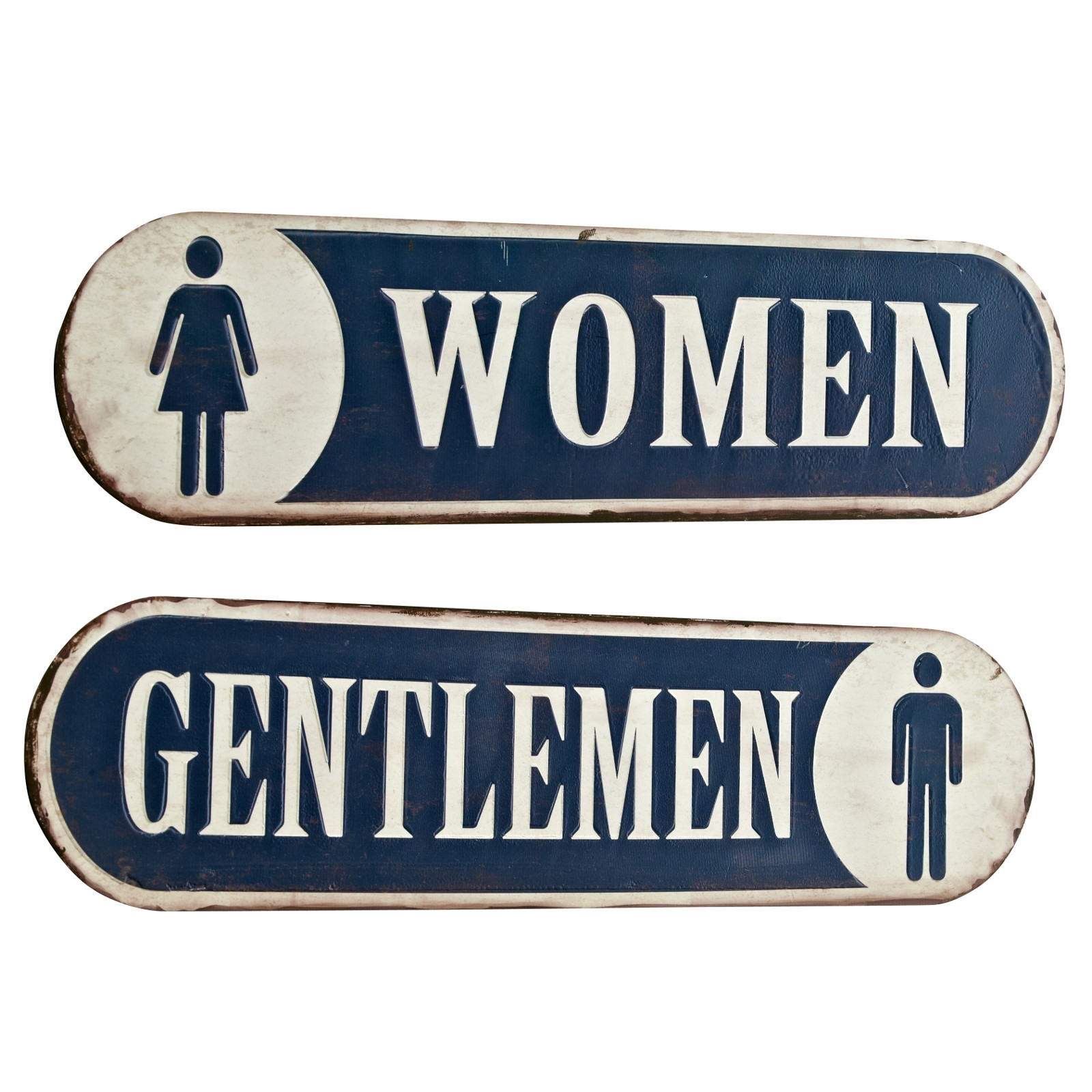 vintage wc signs women gentlemen set toilet decor metal 00 signs ebay. Black Bedroom Furniture Sets. Home Design Ideas