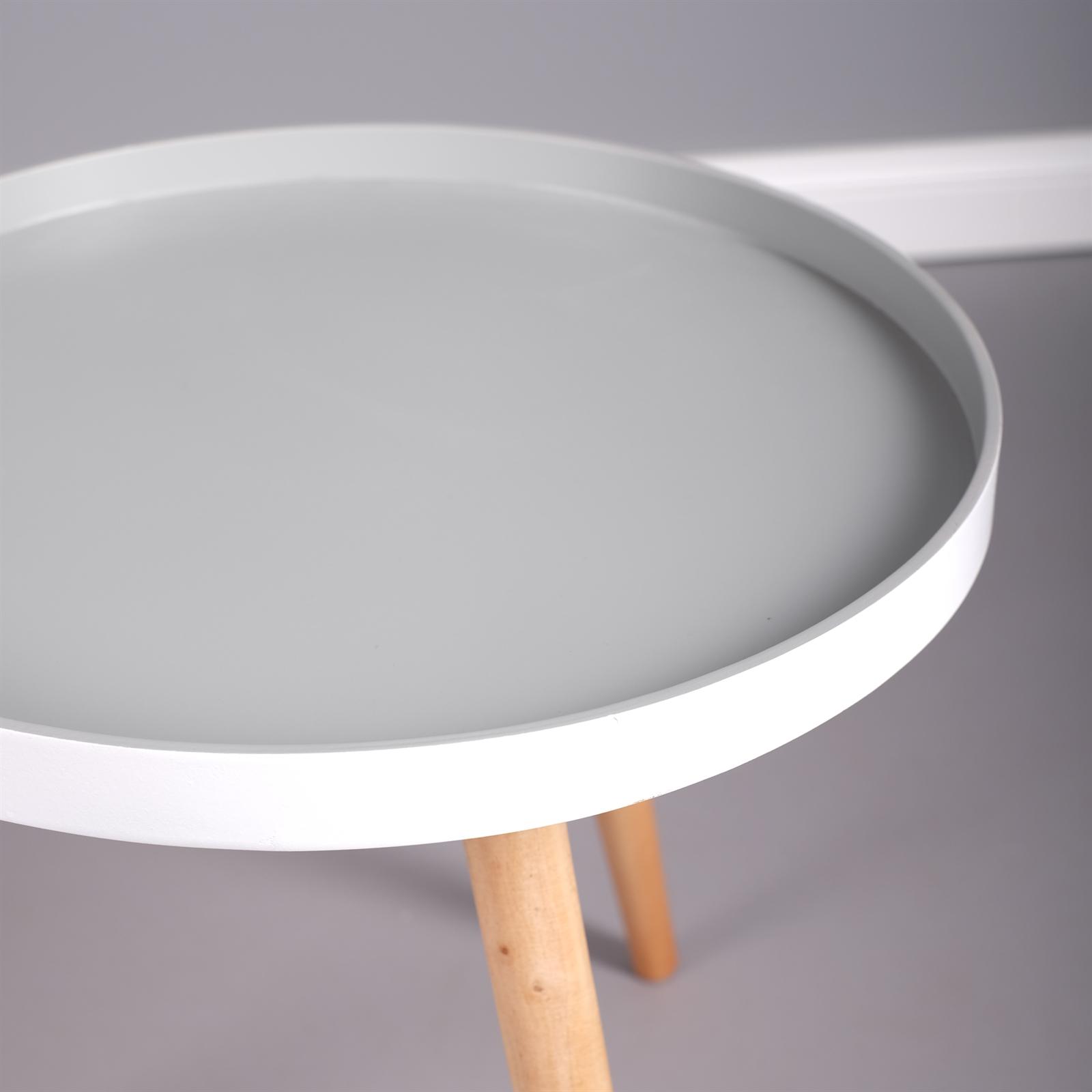 Schlichter beistelltisch nordica grau weiss tisch for Holztisch grau