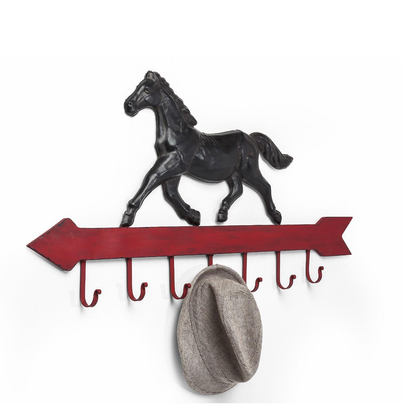 "WANDGARDEROBE /""GALOPP/"" Wandgarderobe mit Pferd 99 cm Eisen mit 7 Haken"