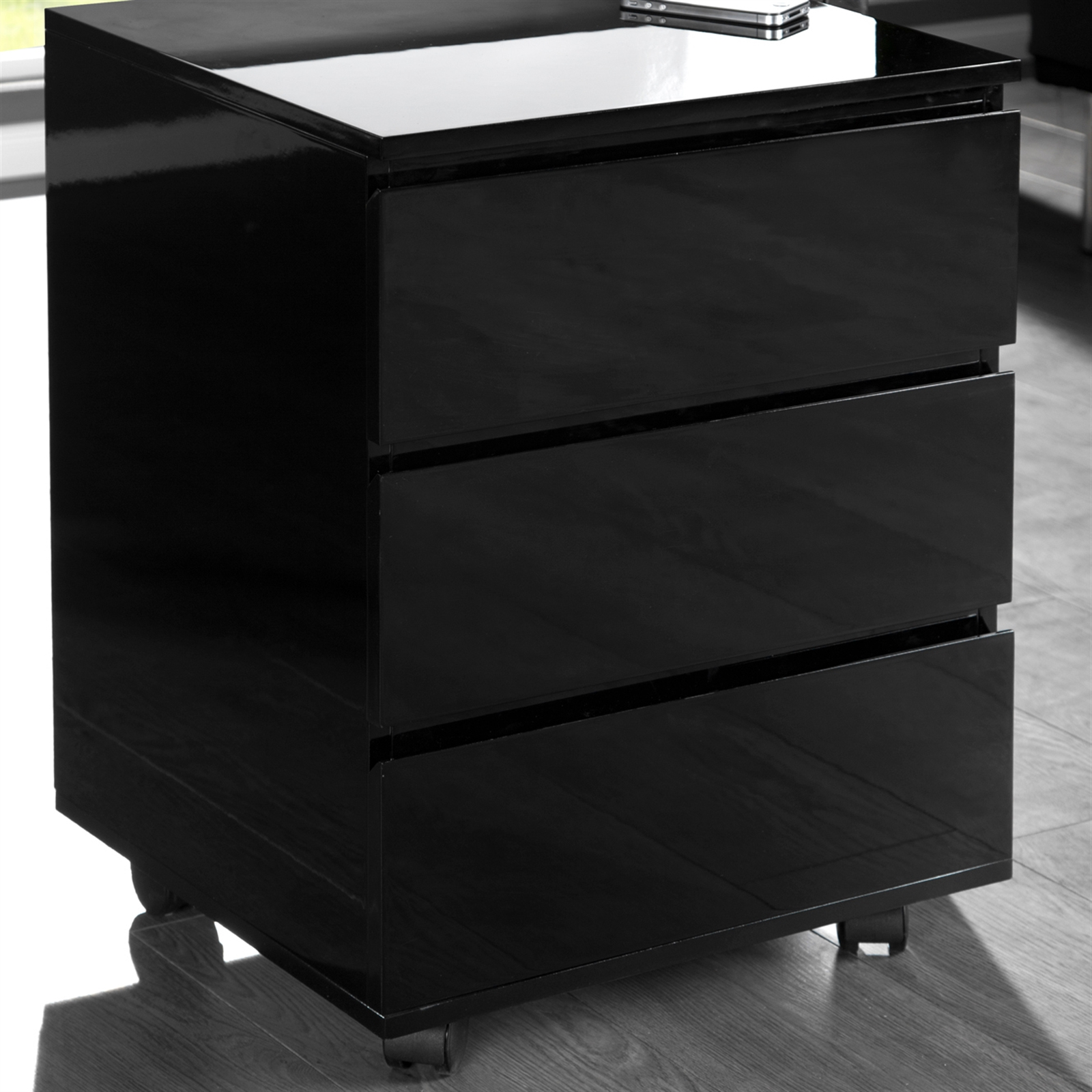 b ro rollcontainer move schreibtisch regal aus holz hochglanz schwarz ebay. Black Bedroom Furniture Sets. Home Design Ideas