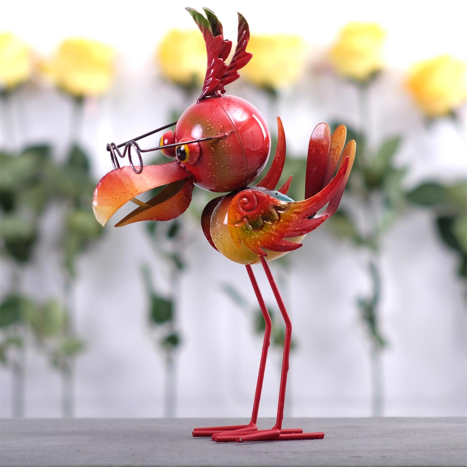 lustige dekofigur vogel figur aus metall 32 cm rot