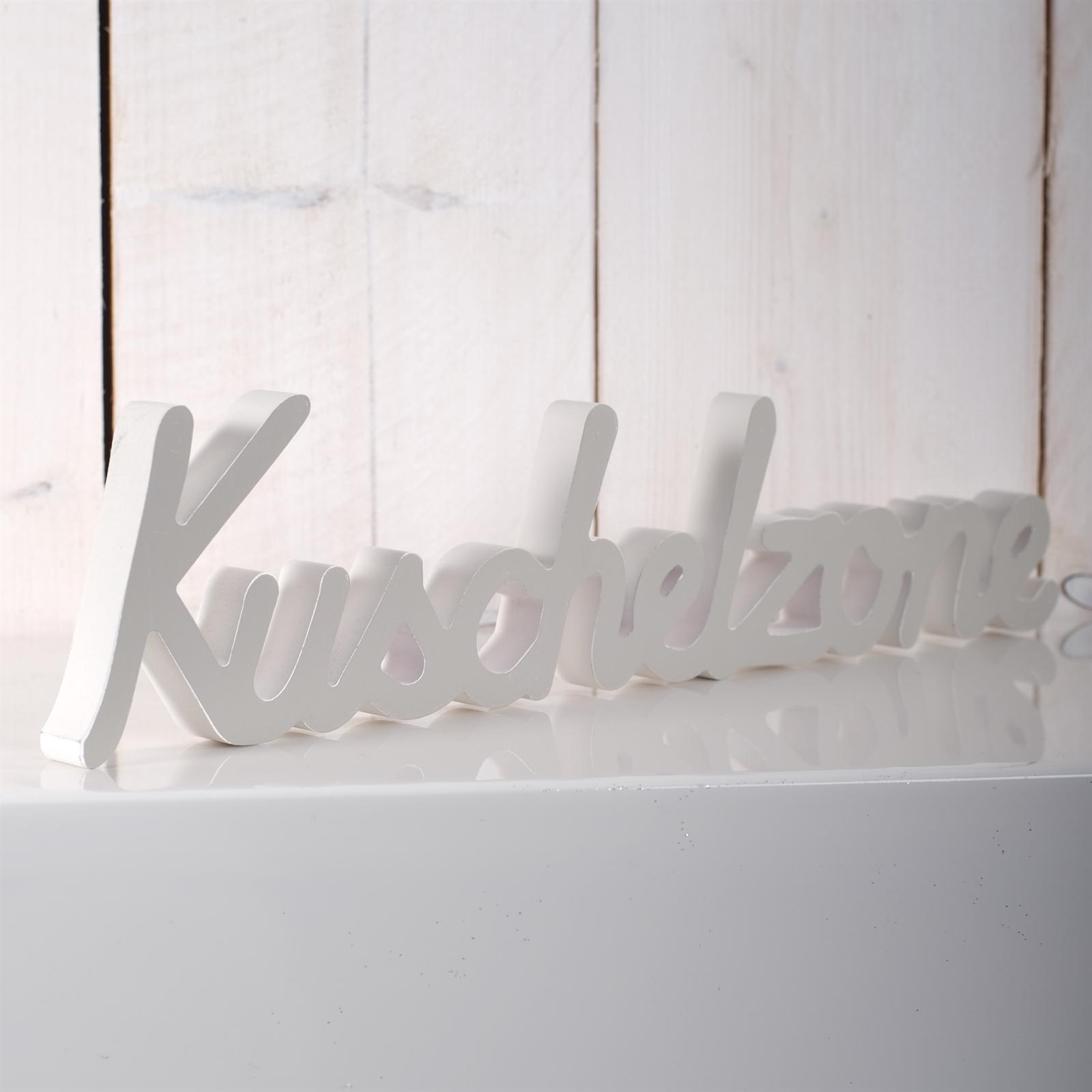 dekorativer schriftzug kuschelzone holz 40 cm wei grau ebay. Black Bedroom Furniture Sets. Home Design Ideas