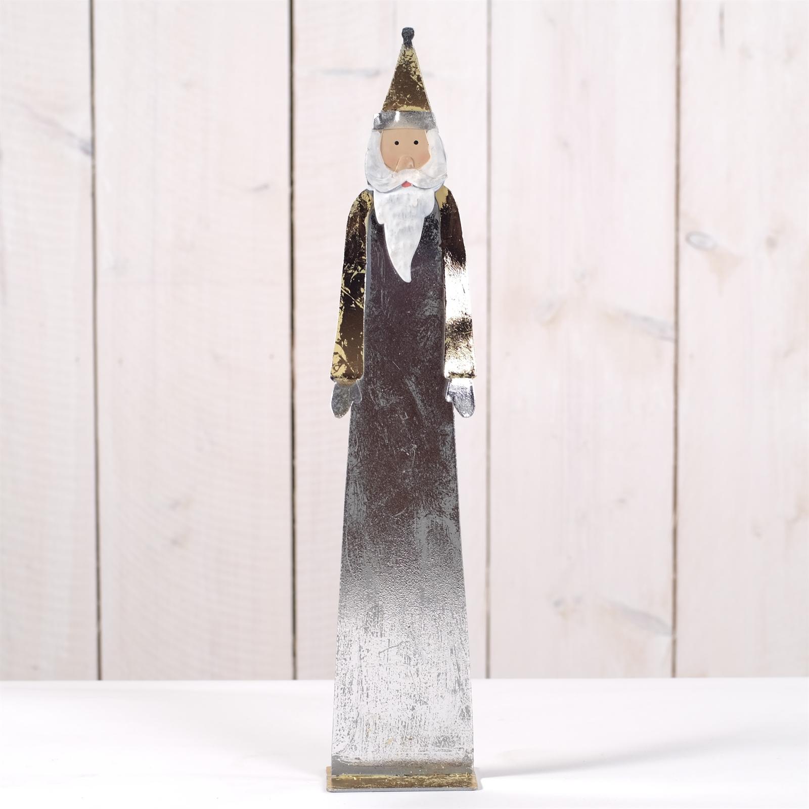 deko figur nikolaus weihnachtsmann 41 cm metall silber. Black Bedroom Furniture Sets. Home Design Ideas