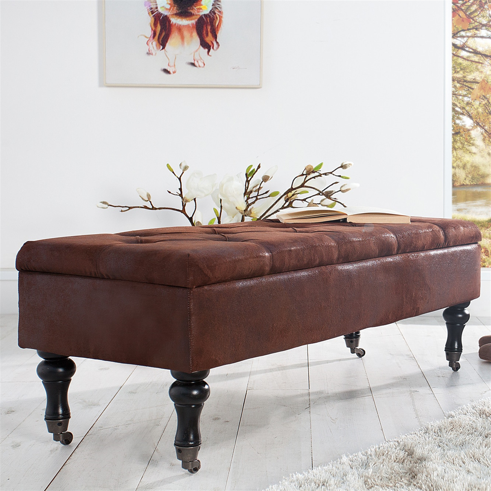 design sitzbank oxford vintage antikbraun 110 cm stauraum truhenbank ebay. Black Bedroom Furniture Sets. Home Design Ideas