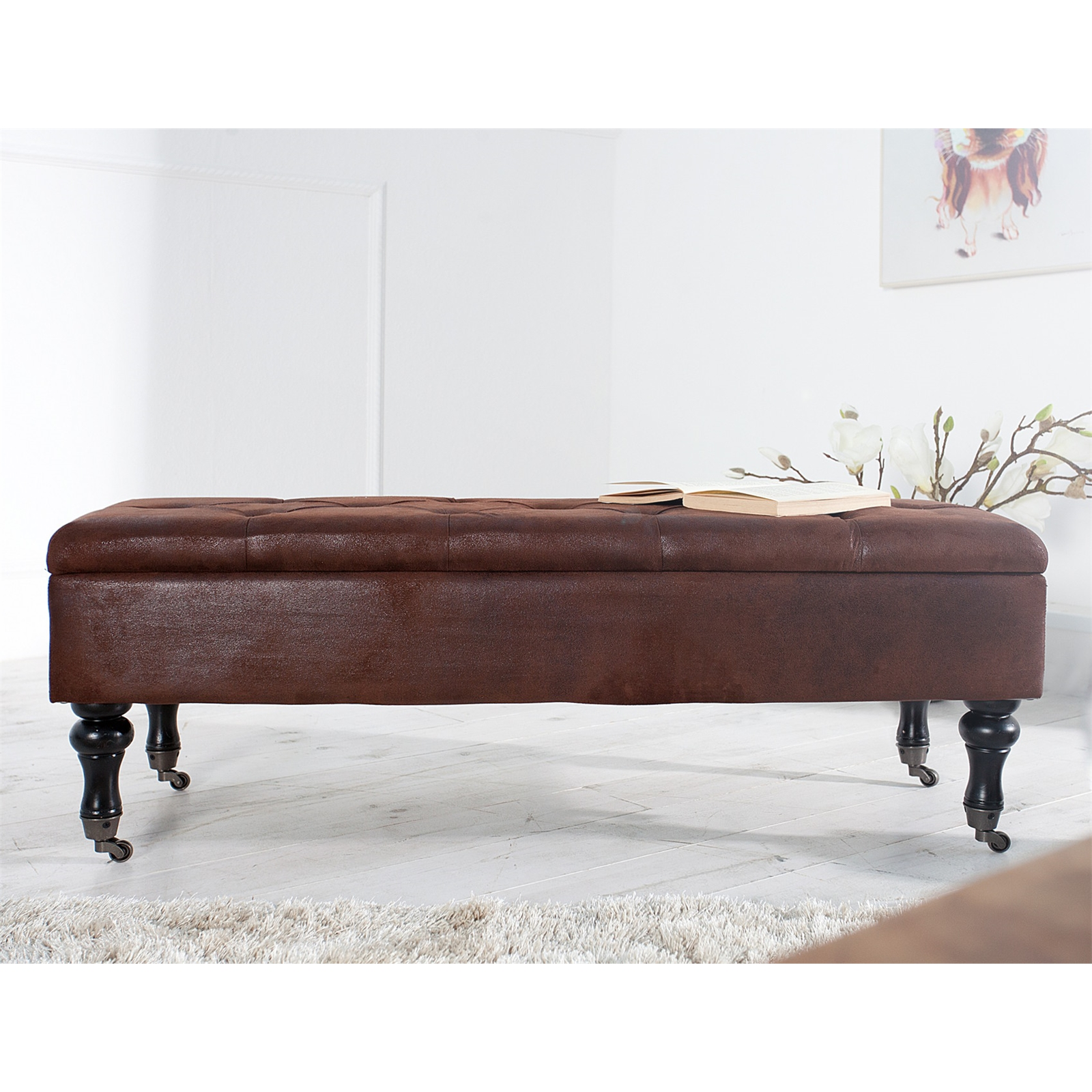 Baroque Storage Bench Oxford Antique Brown 43 Seating Ebay
