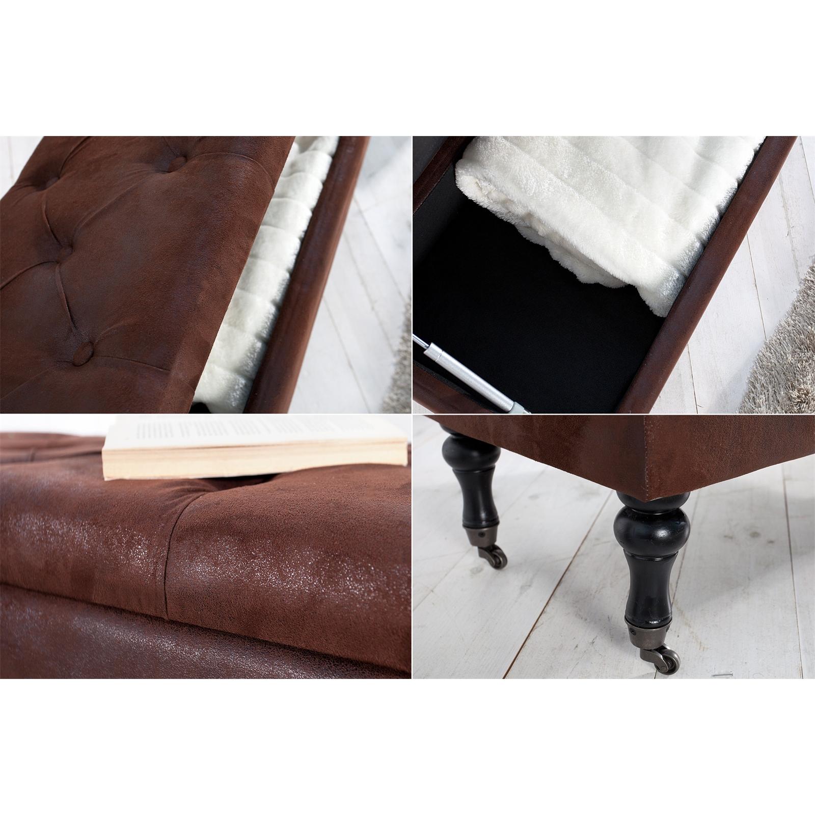 vintage design truhenbank oxford antikbraun 110 cm sitzbank ebay. Black Bedroom Furniture Sets. Home Design Ideas