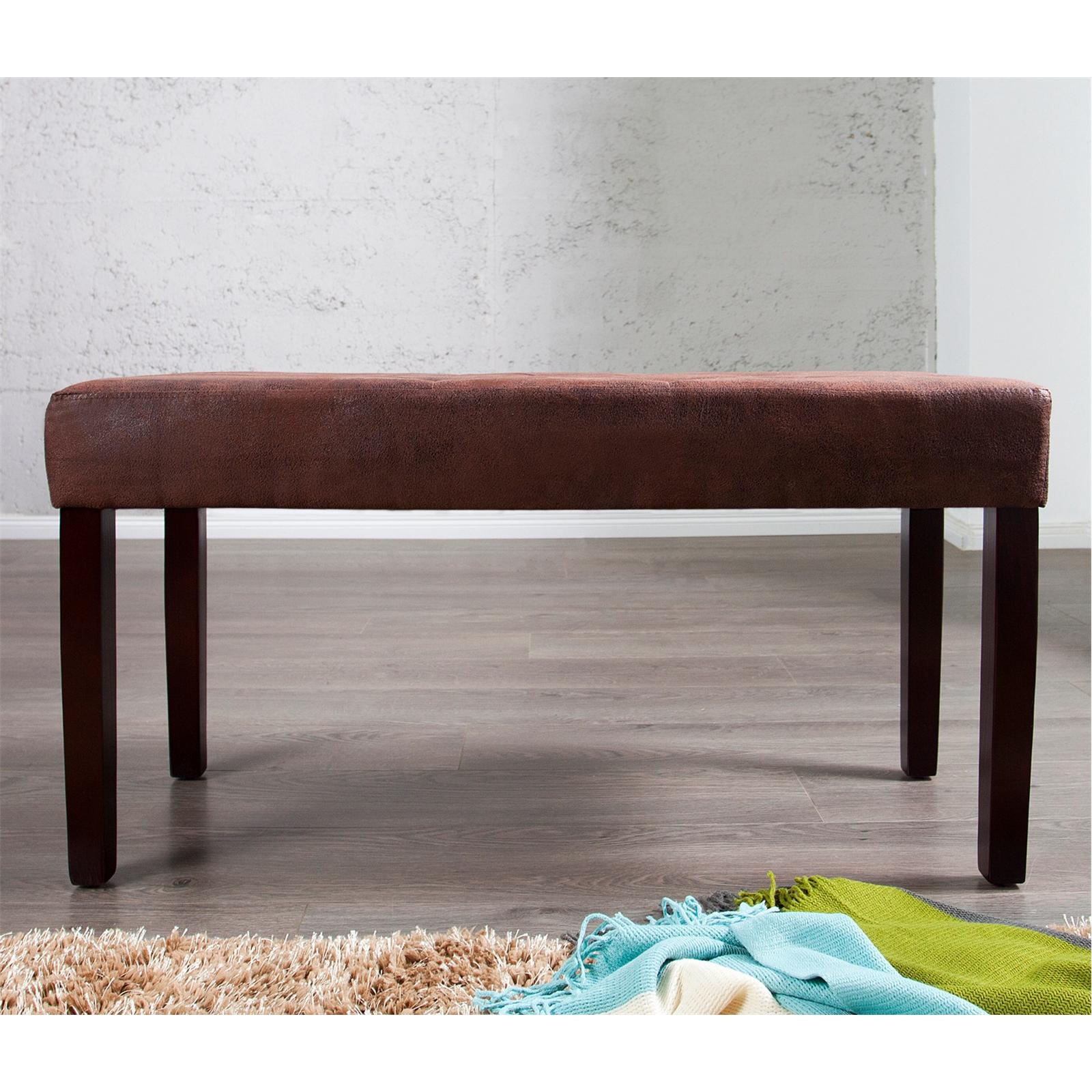 elegante sitzbank william holz 90 cm antik braun holzbank ebay. Black Bedroom Furniture Sets. Home Design Ideas