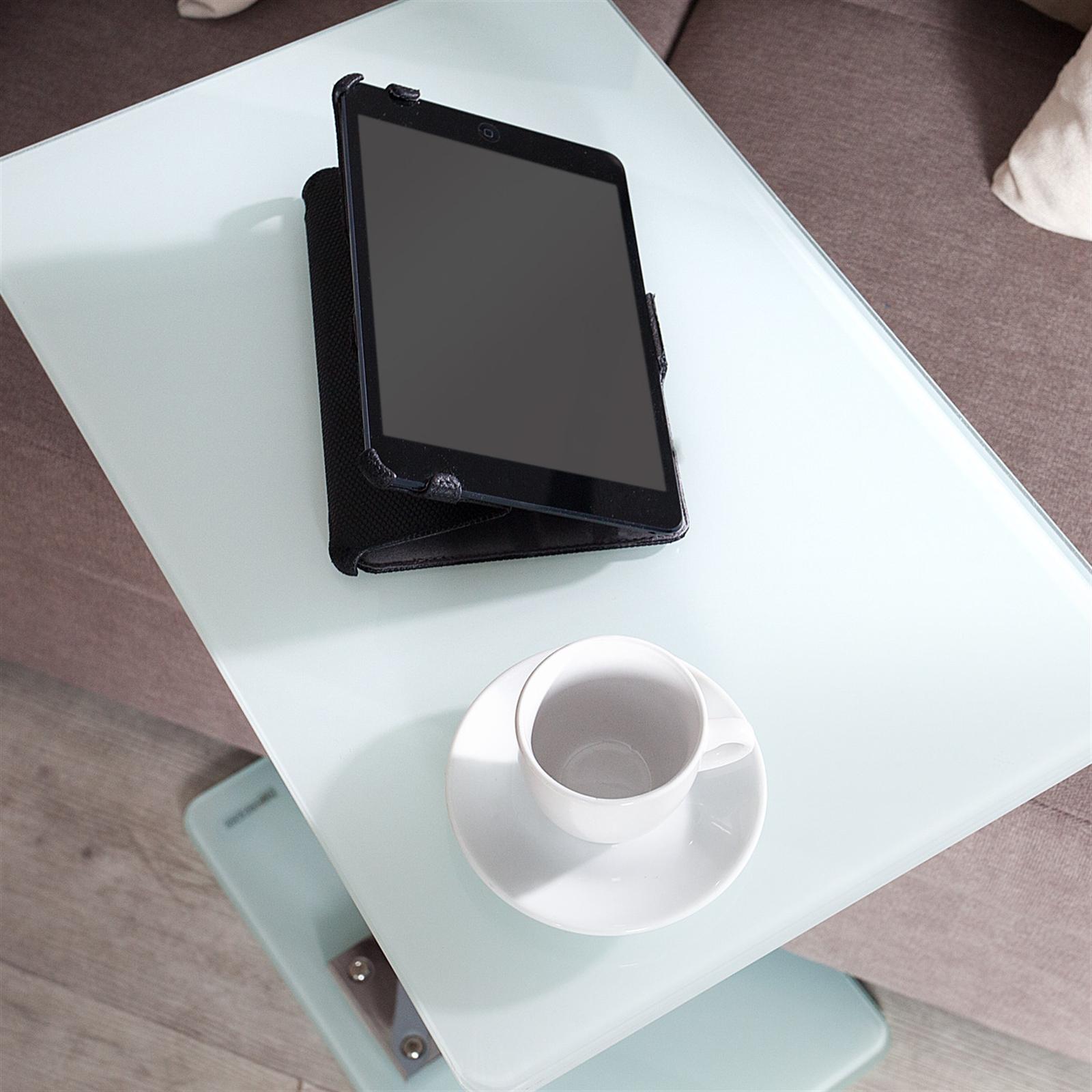 eleganter beistelltisch james glas 58 cm wei glastisch tablett tisch ebay. Black Bedroom Furniture Sets. Home Design Ideas