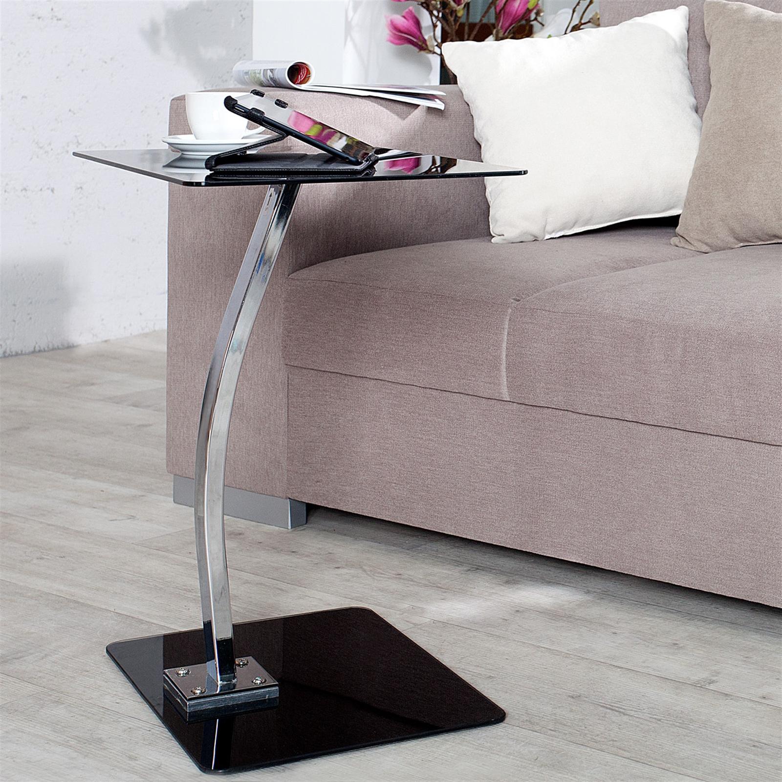 beistelltisch james schwarz glas 58 cm laptop tablett tisch ebay. Black Bedroom Furniture Sets. Home Design Ideas