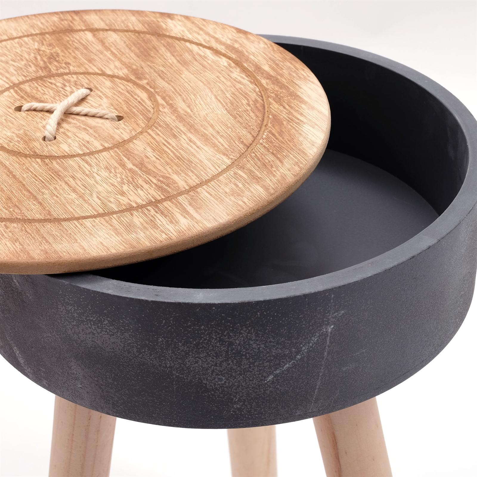 kare design holztisch button natur schwarz h48 5 33 cm beistelltisch 81054 ebay. Black Bedroom Furniture Sets. Home Design Ideas