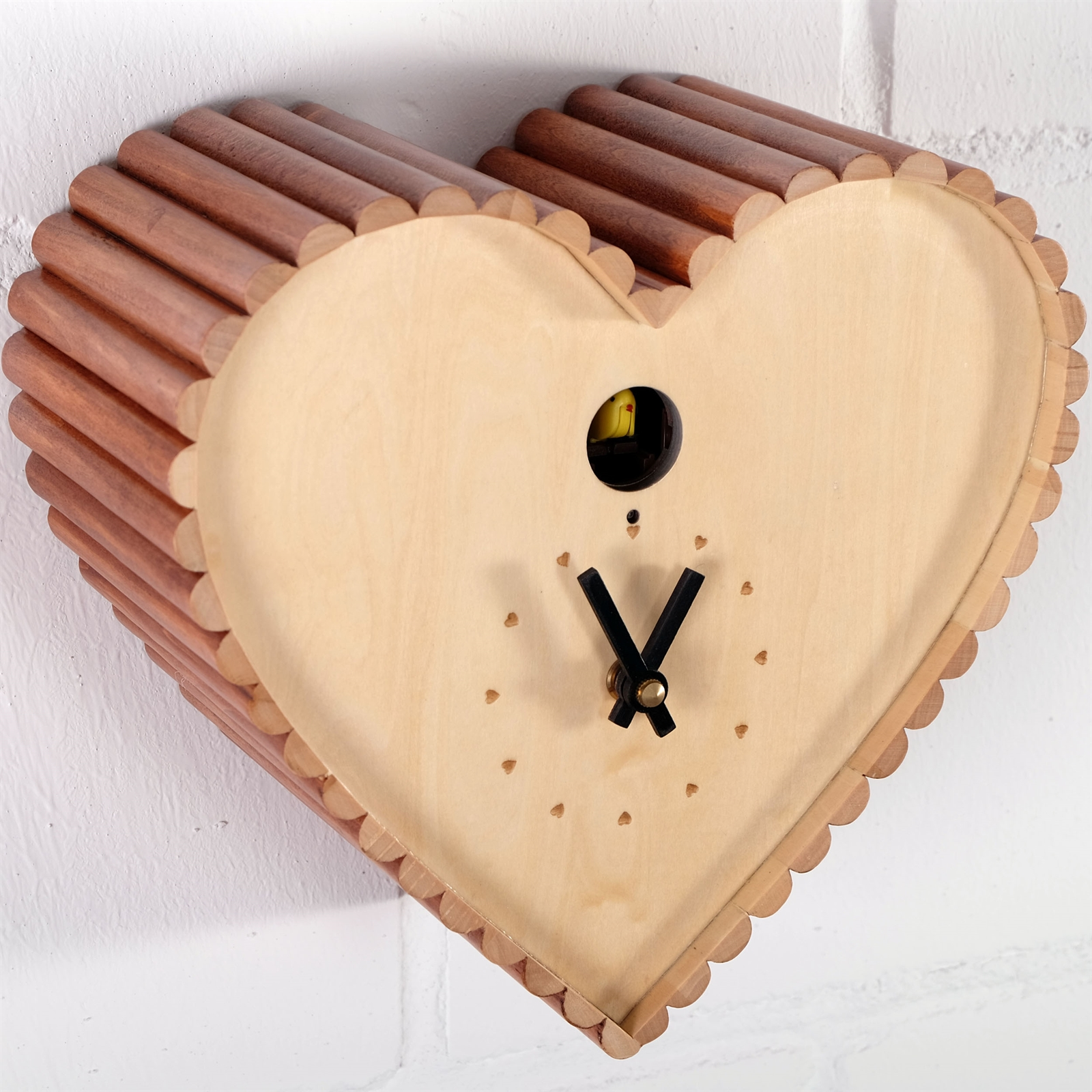 LOVELY WALL CLOCK CUCKOO HEART  Kare Design, 9  heart  -> Wanduhr Retro Holz