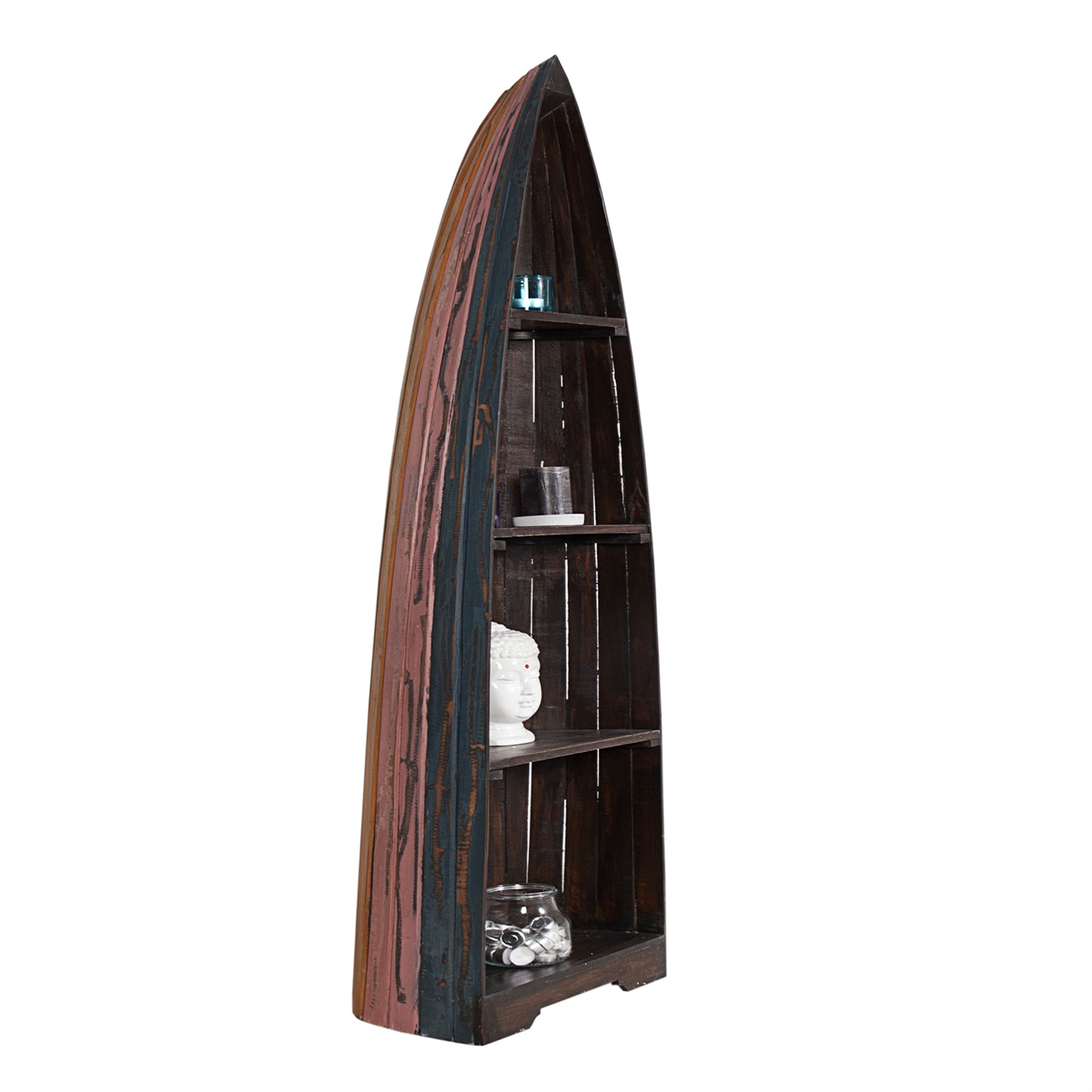 shabby design boat shelf nautic mahogany 79 brown. Black Bedroom Furniture Sets. Home Design Ideas