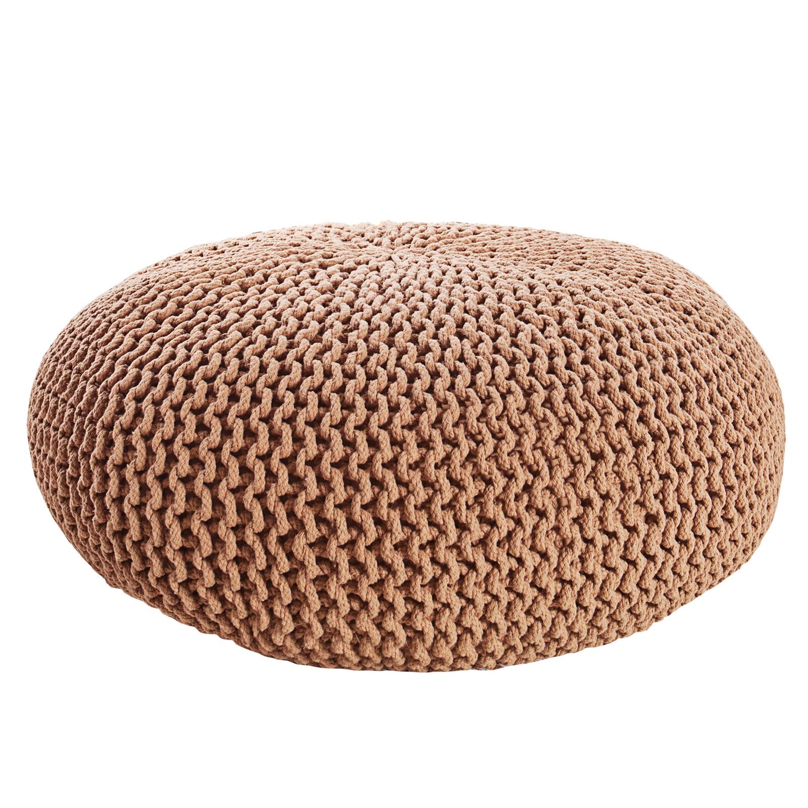 gem tlicher strick pouf liesel 50 cm coffee. Black Bedroom Furniture Sets. Home Design Ideas