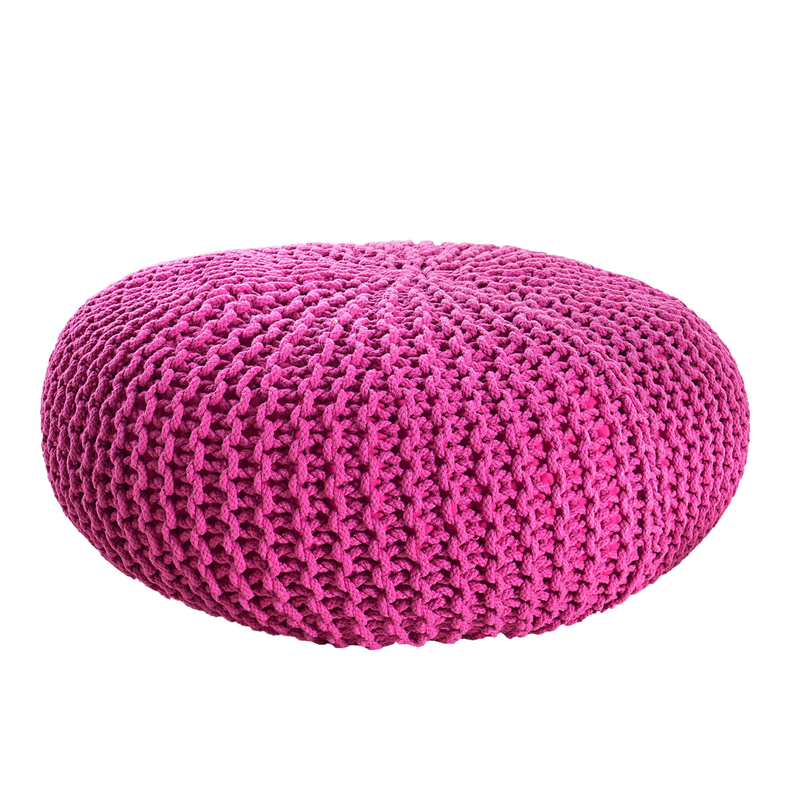 bequemer strick pouf liesel 50 cm pink baumwolle. Black Bedroom Furniture Sets. Home Design Ideas