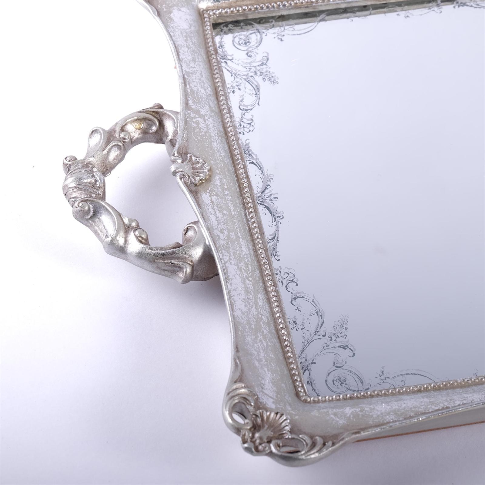 spiegeltablett baron mit griffen antik silber 52 cm. Black Bedroom Furniture Sets. Home Design Ideas