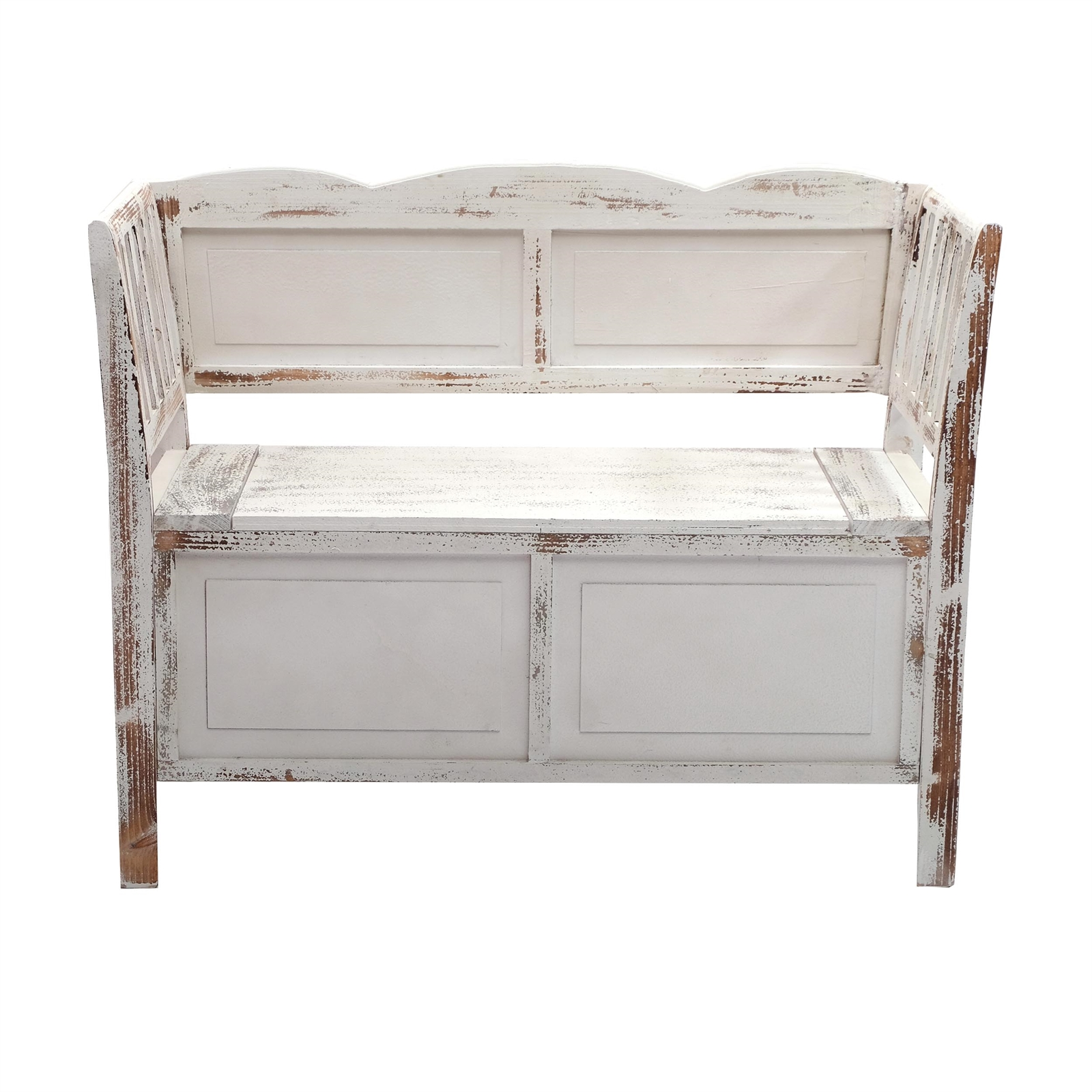 sitzbank farm wei braun 105 cm shabby chic bank holzbank mit stauraum ebay. Black Bedroom Furniture Sets. Home Design Ideas