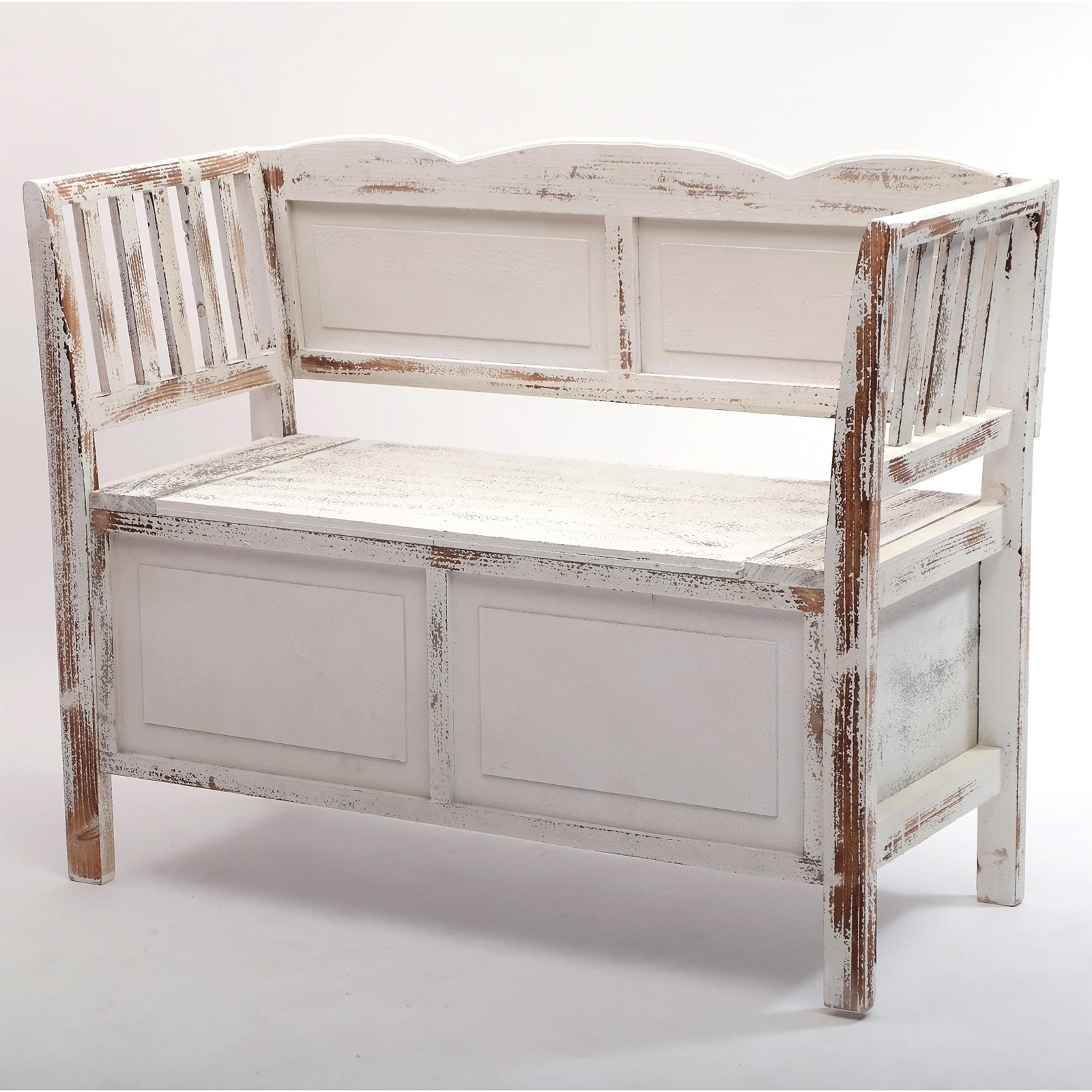 sitzbank farm wei braun 105 cm shabby chic bank. Black Bedroom Furniture Sets. Home Design Ideas