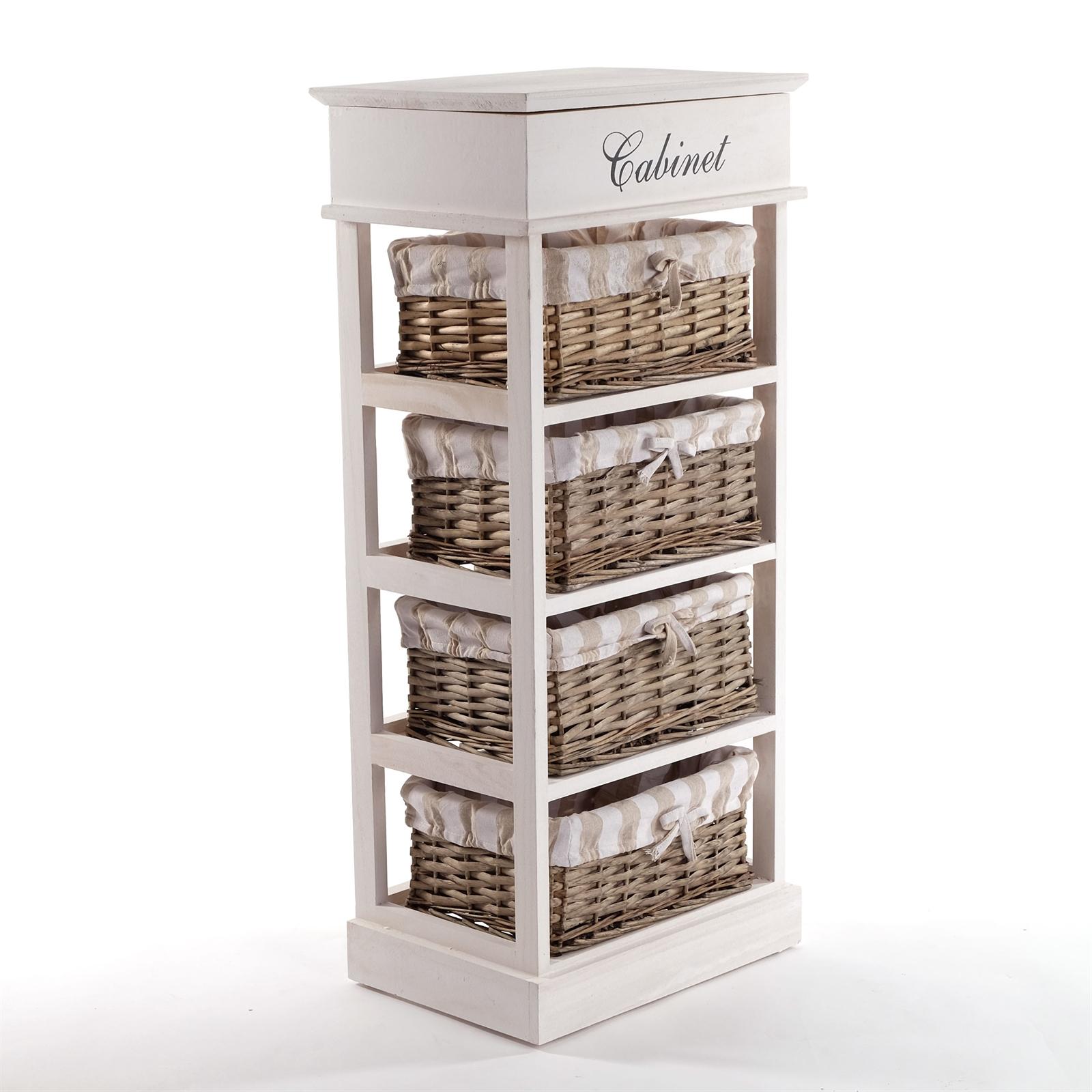 l ndliches korbregal magdalena 86 cm wei holzkommode mit 4 k rben ebay. Black Bedroom Furniture Sets. Home Design Ideas
