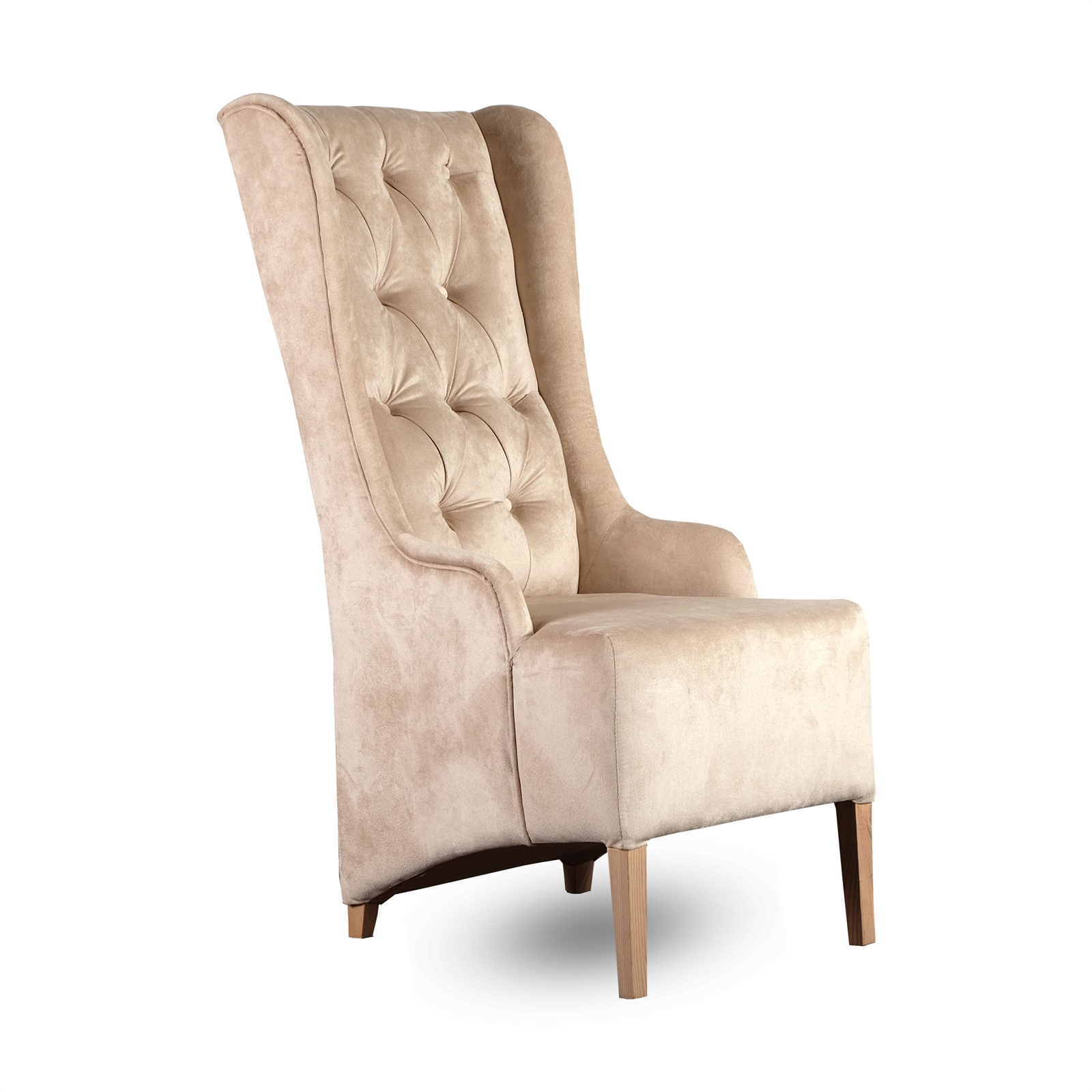 Padded design chair new york velvet cover beige for Chair new design