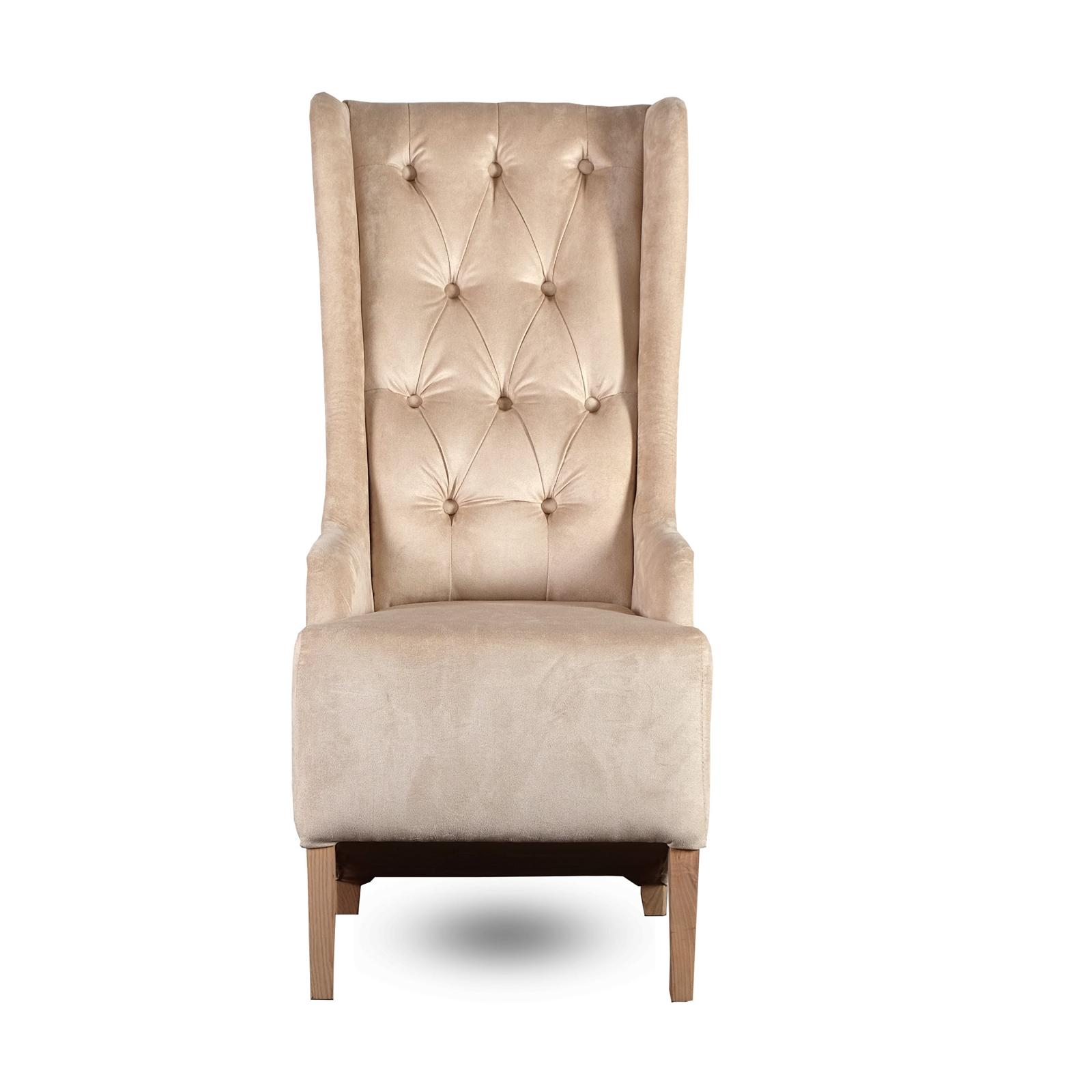 Padded design chair new york velvet cover beige for Latest sitting room chair