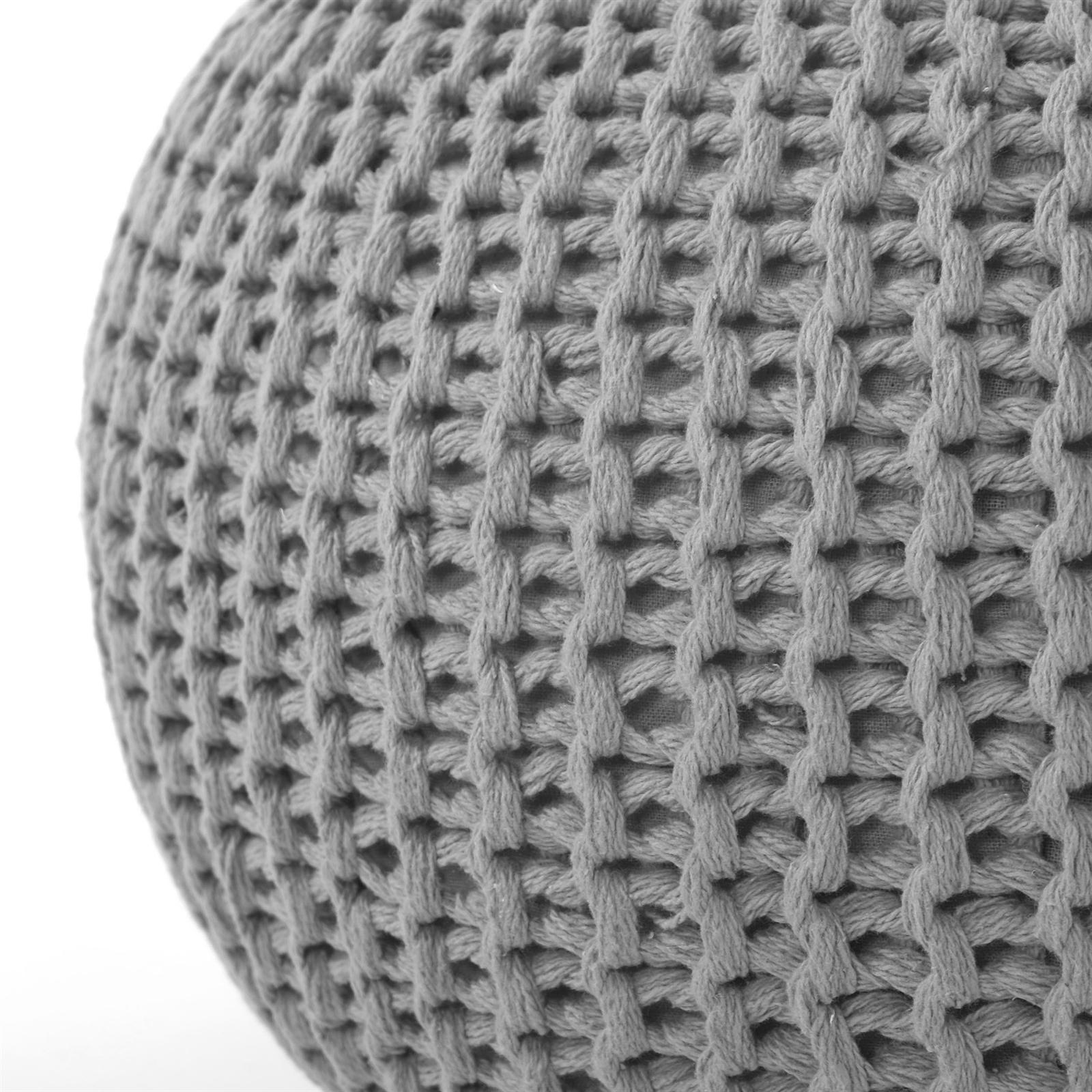 baumwoll pouf lotte 50 cm grau strick fu hocker sitzhocker eur 49 95 picclick de. Black Bedroom Furniture Sets. Home Design Ideas