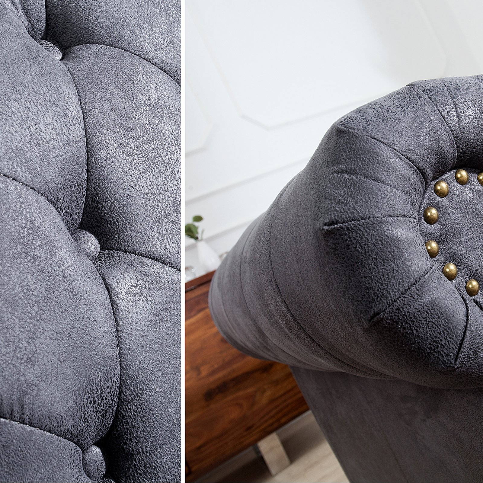 design chesterfield sofa manchester antique grey 59x27 5x35 5