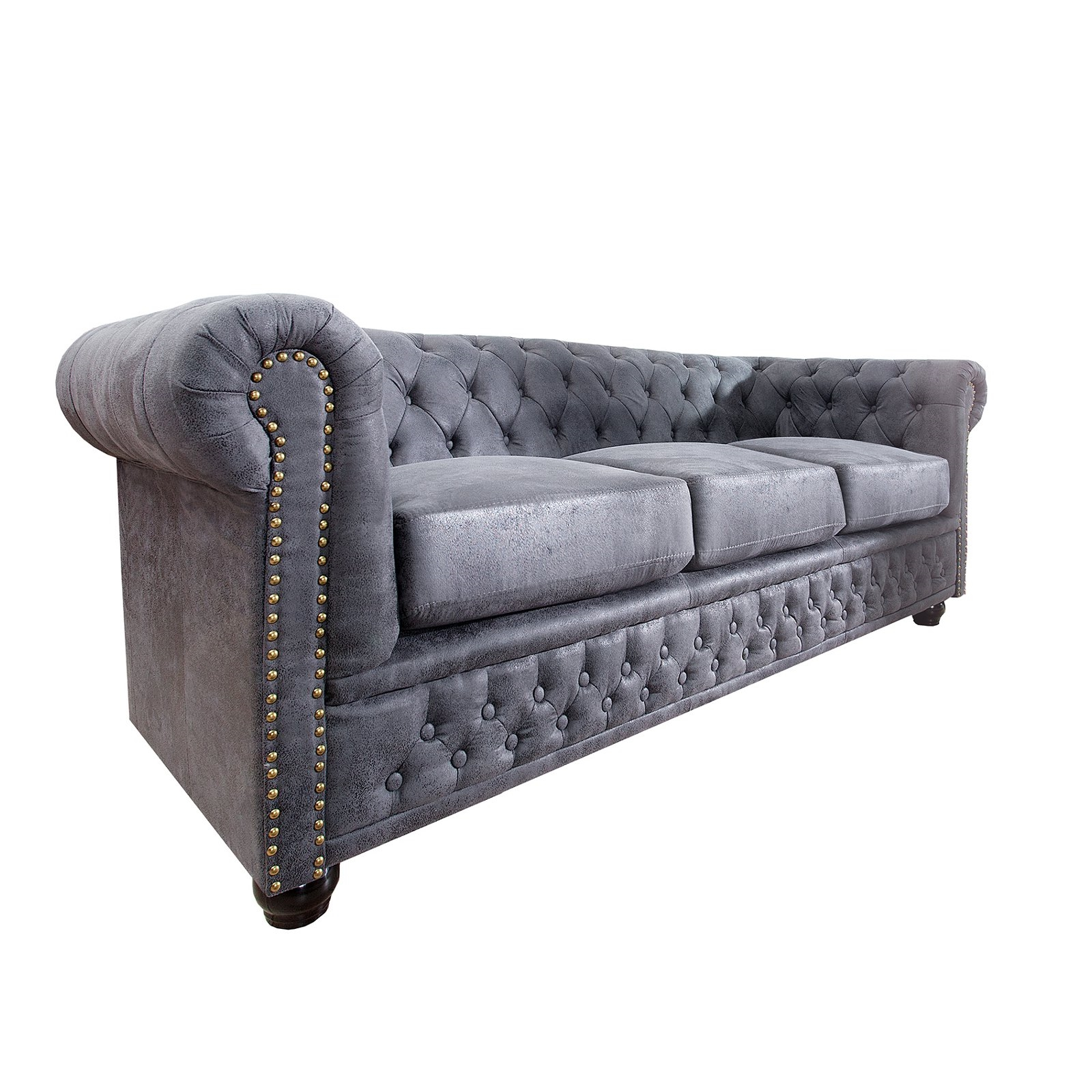 design chesterfield sofa manchester 200x70x85 cm antik grau dreisitzer ebay. Black Bedroom Furniture Sets. Home Design Ideas