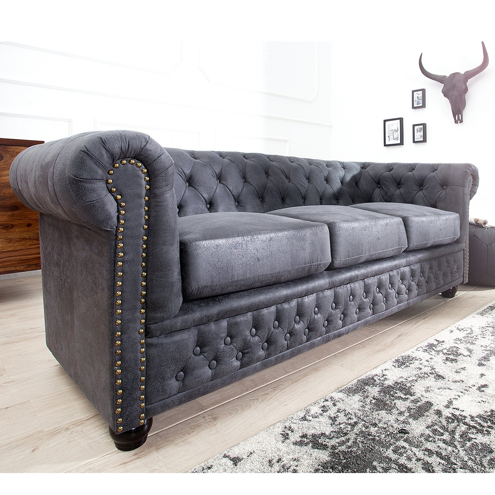 design chesterfield sofa manchester 200x70x85 cm. Black Bedroom Furniture Sets. Home Design Ideas