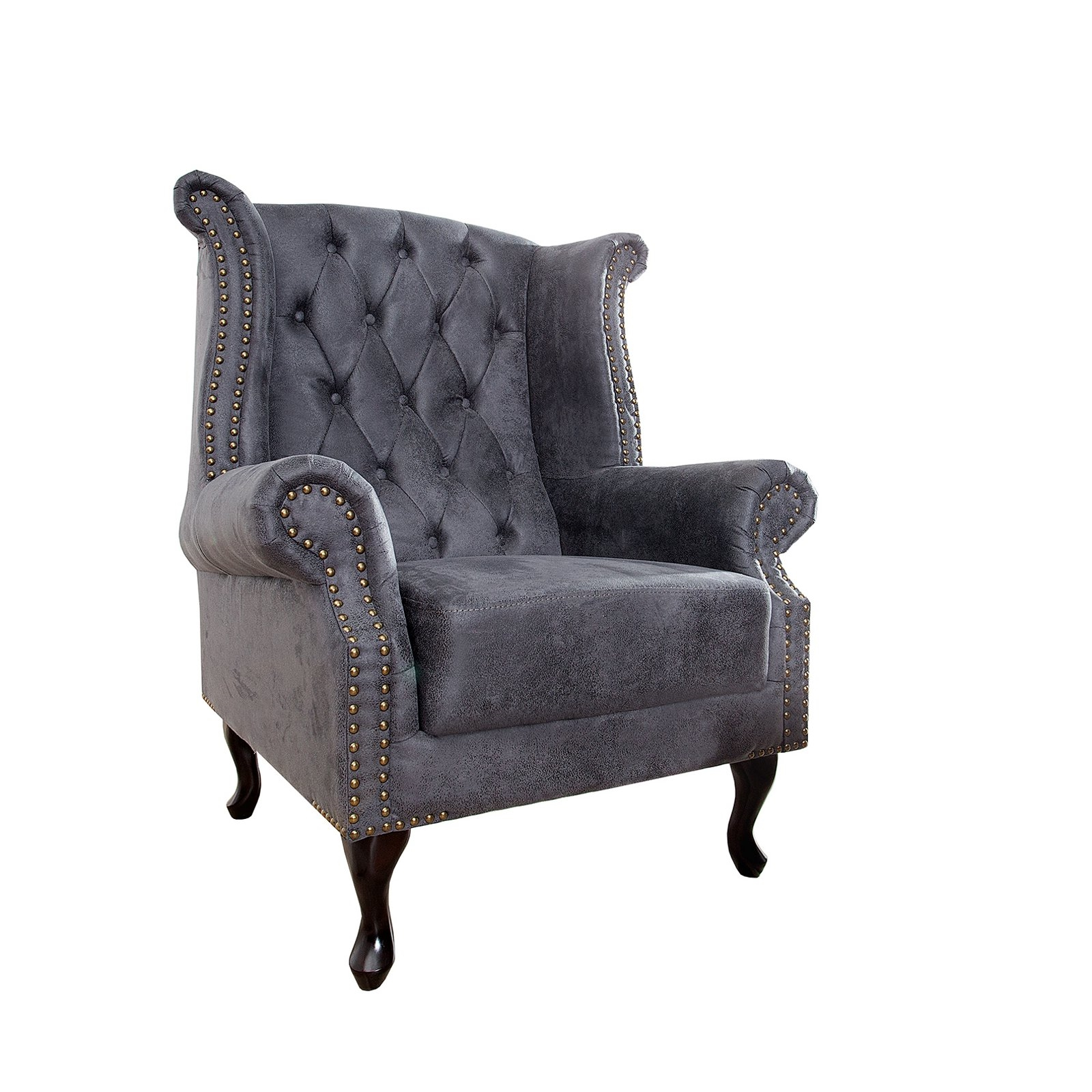 chesterfield armchair manchester antique grey 41 5 wing chair ebay. Black Bedroom Furniture Sets. Home Design Ideas