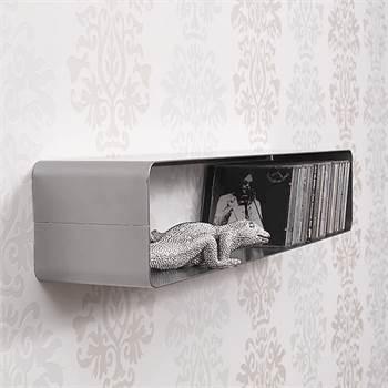 "70s  Retro Design lounge CD shelf ""CUBE"" wall mounting storage 100 CDs"