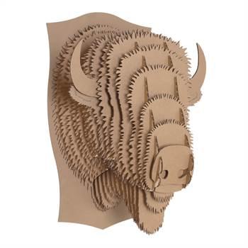 LARGE CARDBOARD SAFARI 3D WANDBILD TIERKOPF BRAUN Billy das Bison