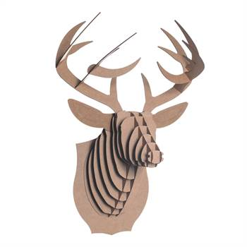 "3D ""CARDBOARD SAFARI""  wall mounted head trophy decor medium brown"