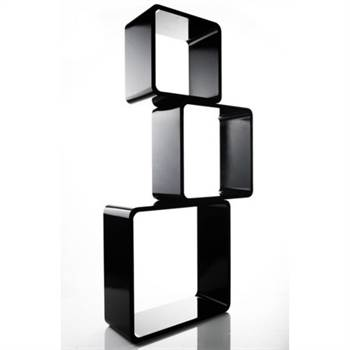 "Lounge Design shelf ""CUBE"" 3pc set square black cubes"