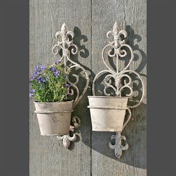 "Set of 2 wall flower pot holder ""HERBAL"" garden decoration"