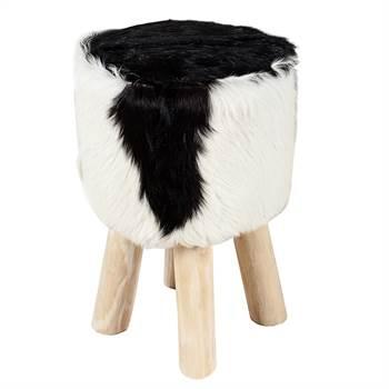 "Design goatskin stool ""ALPINE HUT"" wooden seat real fur chair"