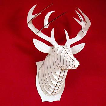 "3D ""CARDBOARD SAFARI"" wall mounted head trophy white large"