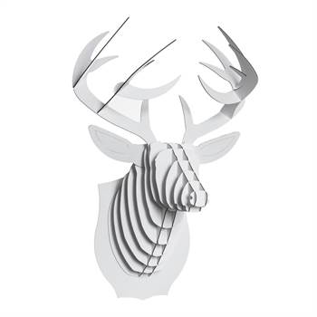 CARDBOARD SAFARI 3D ANIMAL HEAD for wall white Buck the Deer