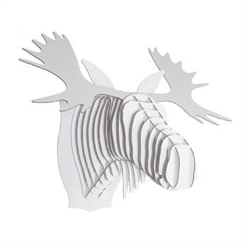 MEDIUM CARDBOARD SAFARI 3D GEWEIH WANDBILD WEISS Fred der Elch