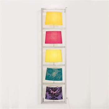 "BUNTE WANDLEUCHTE ""PARECCHI"" | 5 Lampenschirme, vertikal, chrom"