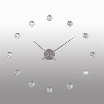 "Design Wanduhr ""KRISTALL"" Ø 50 cm Wanddeko Uhr silber"