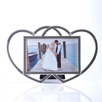 "Bilderrahmen ""LOVE MEMORIES"" Fotorahmen mit Herzen 10x15 cm silber"