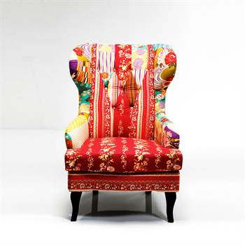 "Large armchair ""PATCHWORK"" upholstered fabric multicoloured"
