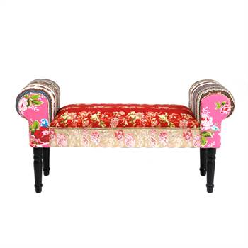 "Design seat bench ""PATCHWORK"" cushioned multicoloured 21""x39.5""x12"""