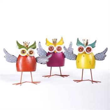 "3er Set Gartenfigur ""CRAZY OWL"" Gartendekoration Eule 23 cm"