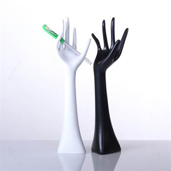 "2 jewellery display hands ""PRECIOUS"" jewel stand black & white"