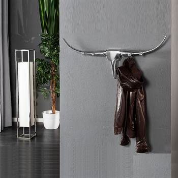 "Design wardrobe ""BULL"" coat rack made of almunium 39.5"" silver"