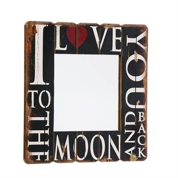 "Spiegel ""ENDLESS LOVE"" 60x60 cm Wandbild Holz braun Shabby"