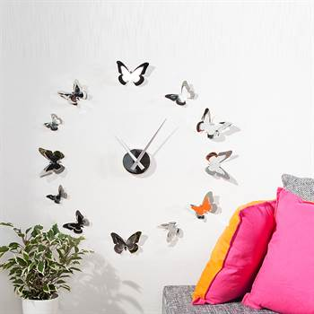 "Giant design wall clock ""BUTTERFLIES"" walldecoration silver chrome"