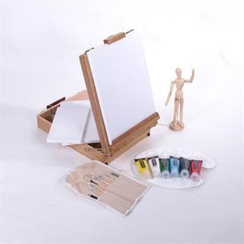 Umfangreiches Künstler Starterset 21 tlg. mit Staffelei, Farben uvm.